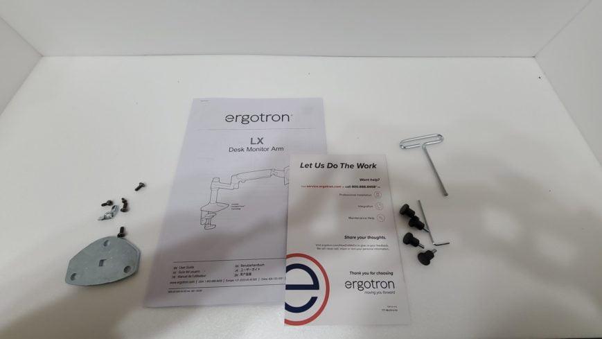 エルゴトロンLXの付属品:説明書とその他ネジ